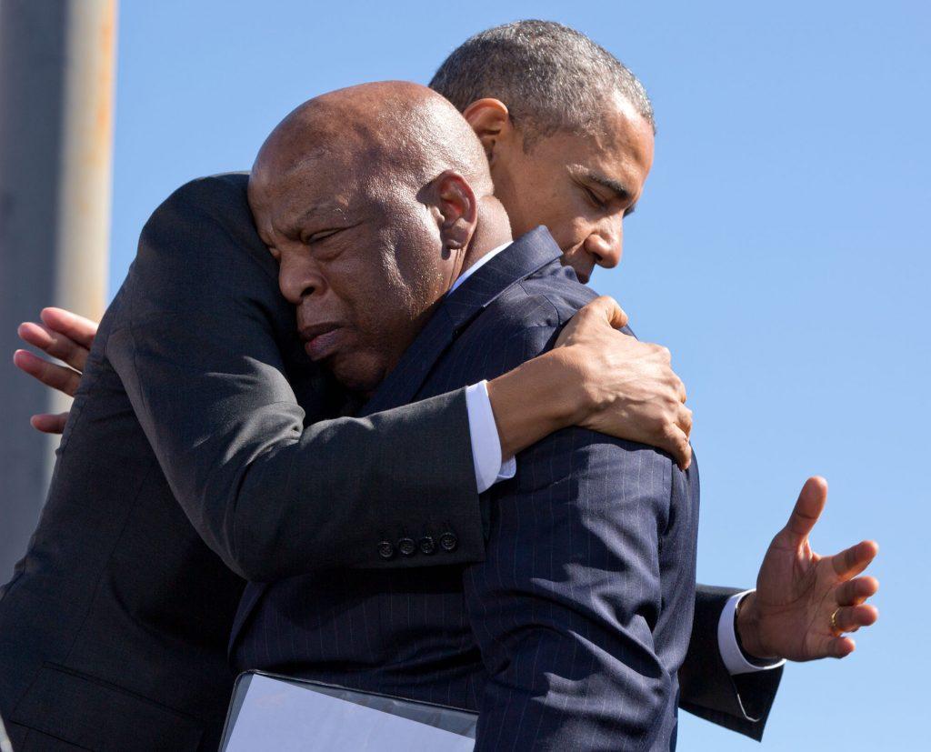 Selma President Obama embraces John Lewis